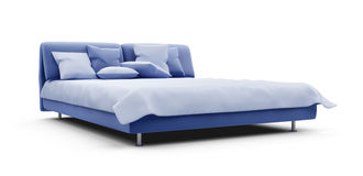 Double bed against white vector illustration