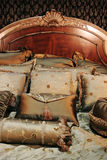 Double bed with beautiful linen Stock Images