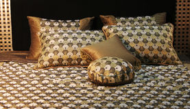 Double bed with beautiful linen royalty free stock images