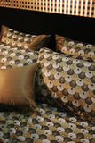 Double bed with beautiful linen Stock Image