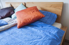 Double bed with bedding Royalty Free Stock Images