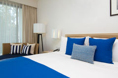 Double bed in bedroom royalty free stock image