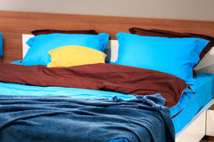 Double bed in the bedroom Royalty Free Stock Image