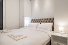 Double bed bedroom interior stock images