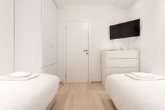 Double bed bedroom interior stock image