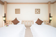 Double bed in bedrooms are decorated in modern style Stock Photos