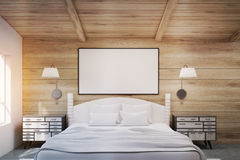 Double bed with bedside tables, toned Royalty Free Stock Photography