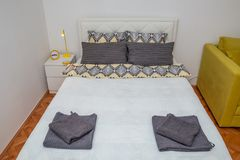 Double bed close up royalty free stock photo