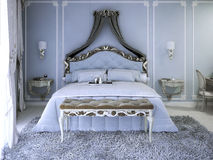 Double bed with curtain Royalty Free Stock Images