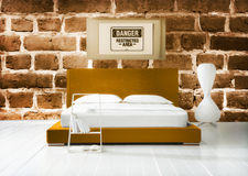 Double bed and danger sign Royalty Free Stock Photos