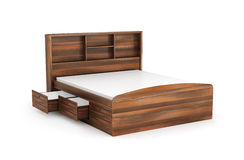 Double bed with drawer from below, Royalty Free Stock Image