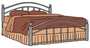 Double bed. Hand drawing of double bed Royalty Free Stock Photos