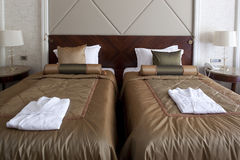 Double bed hotel room Stock Photo