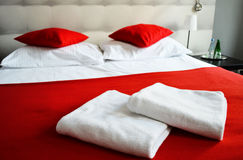 Double bed in hotel room. Accommodation.  stock images