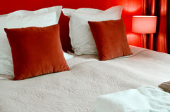 Double bed in hotel room. Accommodation Royalty Free Stock Photo