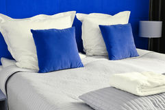Double bed in hotel room. Accommodation Royalty Free Stock Photography