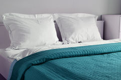 Double bed in hotel room. Accommodation.  stock photography