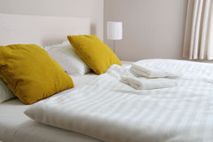 Double bed in hotel room. Accommodation Royalty Free Stock Images