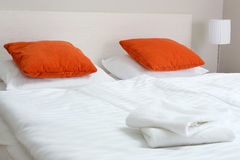 Double bed in hotel room. Accommodation Stock Photos