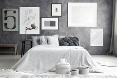Free Double Bed In Cozy Bedroom Stock Photography - 111717072