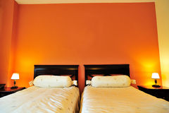 Double bed inside the hotel room Royalty Free Stock Image