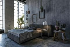 Double bed in loft style bedroom with large window Stock Images