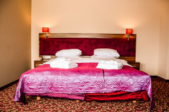 Double bed in luxury hotel room Royalty Free Stock Images