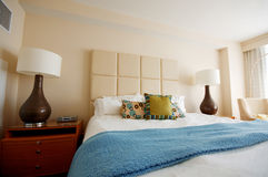 Double bed in the modern interior Stock Photo