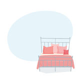 Double bed and pillow. With blanket in modern style cartoon vector illustration. Bedroom furniture. Metallic duvet background Stock Photo