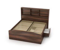 Double bed with two drawers Stock Photo