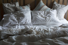 Double bed unmade, morning light Royalty Free Stock Photo
