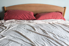 Double bed unmade Stock Photos