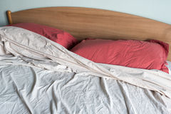 Double bed unmade Royalty Free Stock Photos
