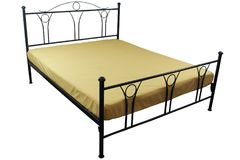 Double bed yellow bed linen Royalty Free Stock Photo