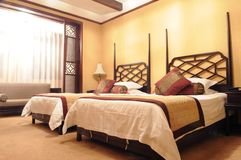 The double bedroom of luxury hotel. With classical Chinese fitments Royalty Free Stock Photos