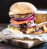Double beef burger Royalty Free Stock Photos