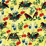 Double bird bleeding heart seamless pattern Stock Images