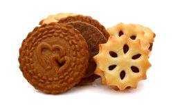 Double biscuits isolated. Background, circle. Double biscuits isolated. Stack, brown royalty free stock photography