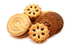 Double biscuits isolated. Background, circle. Double biscuits isolated. Stack, brown royalty free stock image