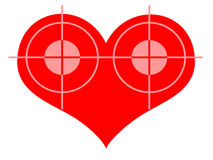 Double Blow. Double Target At Red Heart over White Background Royalty Free Stock Photos