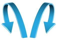 Double blue arrow 3D curve direction on white background vector. Illustration Royalty Free Stock Photography