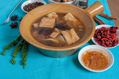 Double boiled pork rids, black mushroom in chinese herb soup Royalty Free Stock Images