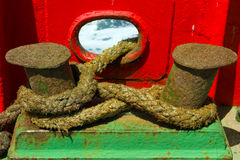 A double bollard used for tying large nautical ropes Royalty Free Stock Photo