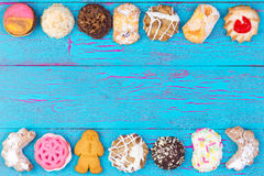 Double border of colorful cookies or biscuits Royalty Free Stock Images