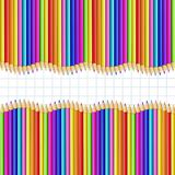 Double border made of multicolored pencils on graphing paper background. Square wavy border frame made of multicolor wooden pencils rows on white graphing paper vector illustration