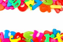 Double border of toy magnetic letters Royalty Free Stock Photo