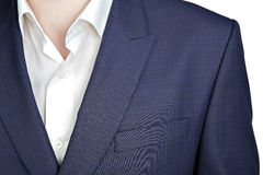 Double-breasted mens blazer with a navy blue small checkered pat Stock Photo
