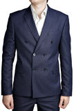 Double-breasted mens suit jacket with dark blue small checkered Stock Image