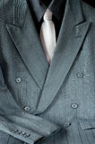 Double-breasted Suit and Tie. Double-breasted pinstripe gray suit or mens sport jacket and shirt with necktie Stock Photography