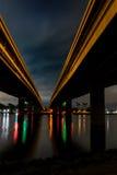 Double bridge. Night cityscape double bridge and cross lights Royalty Free Stock Photos
